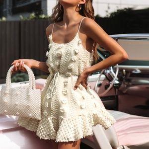 Textured Mini Dress Beige Ruffle Cami Ties